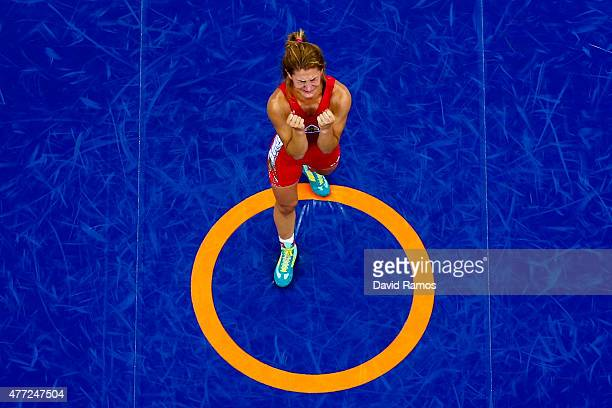 Evelina Nikolova of Bulgaria reacts after defeating Irina Olognova of Russia in the Women's 55kg Freestyle Wrestling bronze final during day three of...