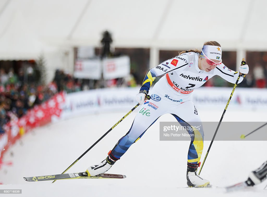 Evelina Settlin of Sweden competes during the women's Sprint F race on December 31, 2016 in Val Mustair, Switzerland.