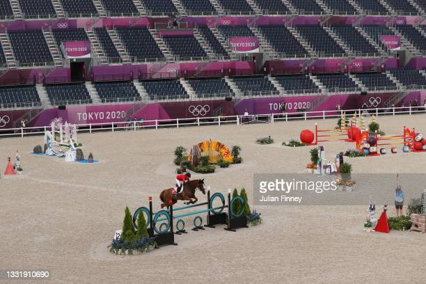 Eveline Bodenmuller of Team Switzerland riding Violine de la Brasserie competes during the Eventing Jumping Team Final and Individual Qualifier on...