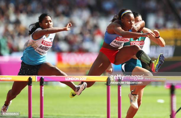 Evelis Aguilar of Colombia competes in the 100m hurdles discipline of the Heptathlon during day two of the 16th IAAF World Athletics Championships...