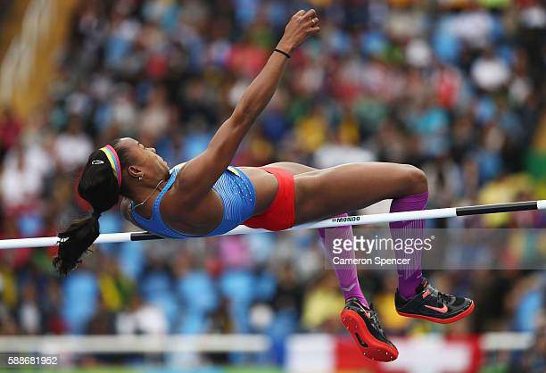 Evelis Aguilar of Colombia competes in the Women's Heptathlon High Jump on Day 7 of the Rio 2016 Olympic Games at the Olympic Stadium on August 12...