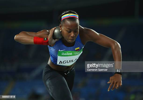 Evelis Aguilar of Colombia competes in the Women's Heptathlon Shot Put on Day 7 of the Rio 2016 Olympic Games at the Olympic Stadium on August 12...