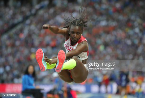 Evelise Veiga of Portugal competes in the Women's Long Jump Final during day five of the 24th European Athletics Championships at Olympiastadion on...