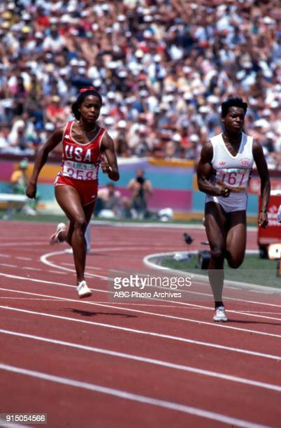Evelyn Ashford Heather Oakes Women's Track 100 metres competition Memorial Coliseum at the 1984 Summer Olympics August 5 1984