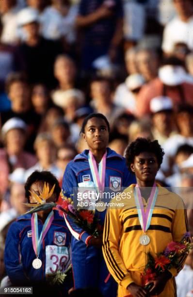 Evelyn Ashford Merlene OtteyPage Women's Track 100 metres medal ceremony Memorial Coliseum at the 1984 Summer Olympics August 5 1984