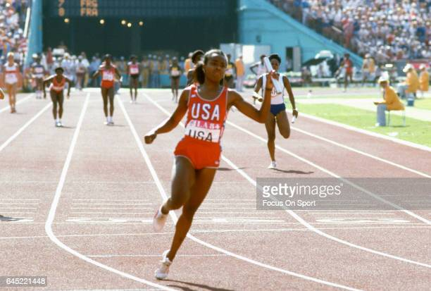 Evelyn Ashford of the United States competes in the 4x100 meters relay during the Games of the XXIII Olympiad in the 1984 Summer Olympics circa 1984...