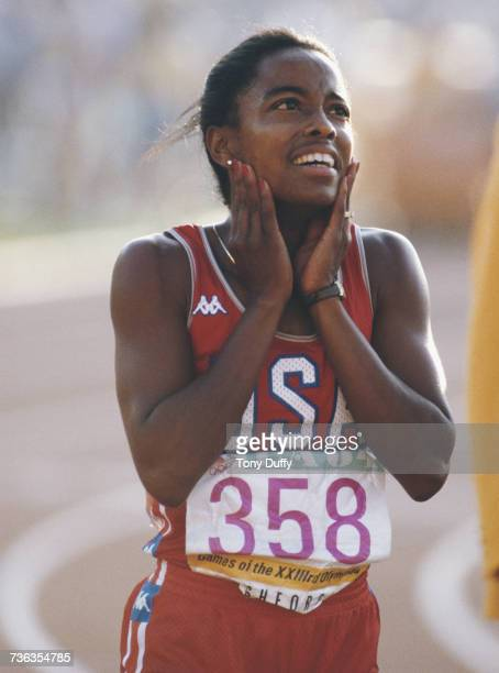 Evelyn Ashford of the United States looks to the scoreboard after winning the Women's 100m metres event at the XXIII Olympic Summer Games on 5 August...