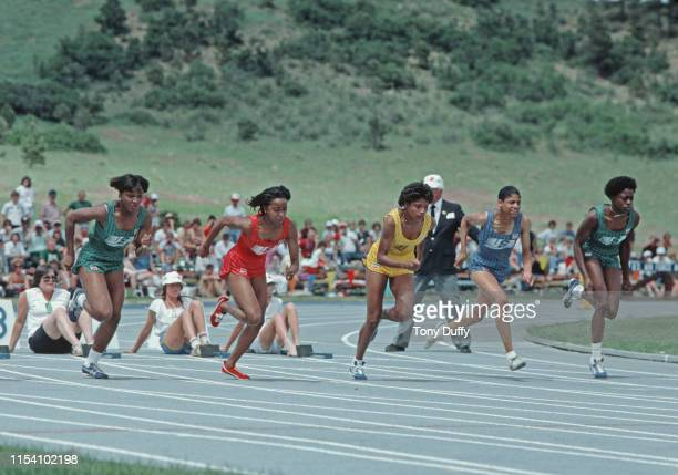 Evelyn Ashford of the United States sprints to a new Women's 100 meter world record in a time of 1079 seconds on 3rd July 1983 at the National Sports...