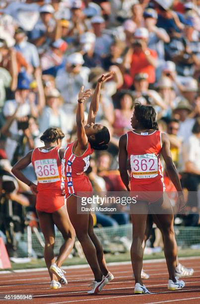 Evelyn Ashford of the USA reacts after winning the Women's 100 meter event of the track and field competition of the 1984 Olympic Games on August 6...