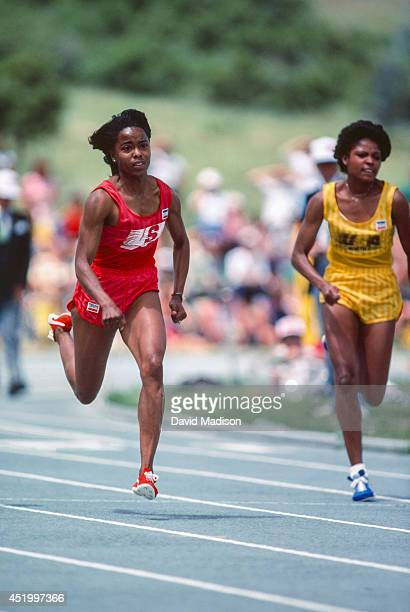 Evelyn Ashford of the USA sprints to a new 100 meter world record in a time of 1079 seconds on July 3 1983 at the 1983 National Sports Festival track...