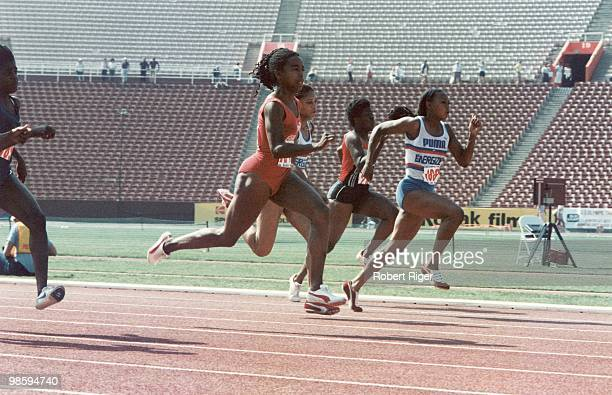 Evelyn Ashford races during the 1984 United States Olympic Trials at the Los Angeles Memorial Coliseum in Los Angeles California