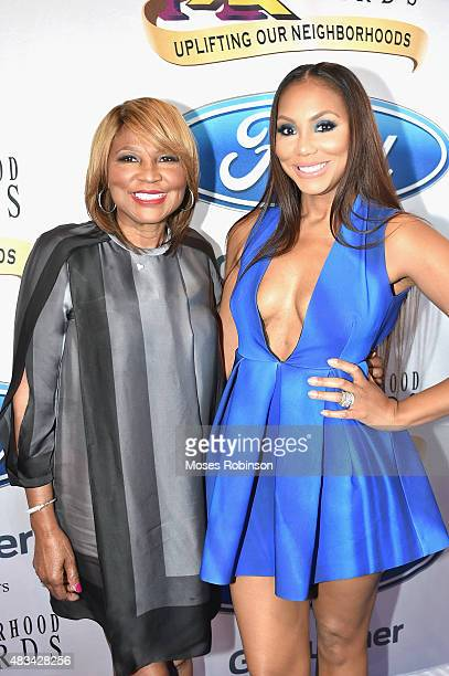 Evelyn Braxton and Tamar Braxton attend the 2015 Ford Neighborhood Awards Hosted By Steve Harvey at Phillips Arena on August 8, 2015 in Atlanta,...