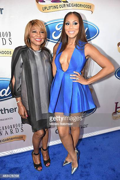 Evelyn Braxton and Tamar Braxton attend the 2015 Ford Neighborhood Awards Hosted By Steve Harvey at Phillips Arena on August 8 2015 in Atlanta Georgia