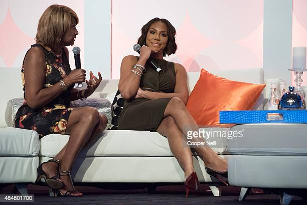 Evelyn Braxton and Tamar Braxton speak during a session at MegaFest on August 21, 2015 in Dallas, Texas.