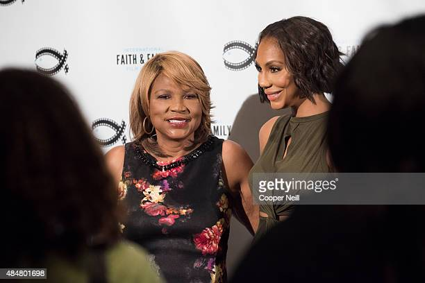 Evelyn Braxton and Tamar Braxton speak to the media after a session at MegaFest on August 21, 2015 in Dallas, Texas.