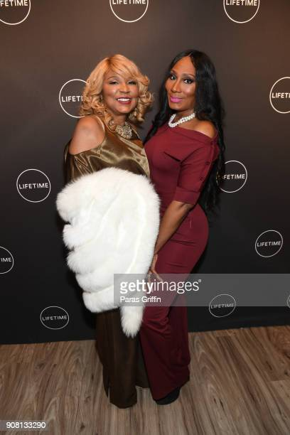 Evelyn Braxton and Towanda Braxton attend Faith Under Fire The Antoinette Tuff Story red carpet screening at Woodruff Arts Center on January 20 2018...