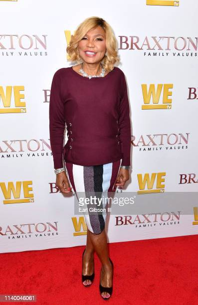 "Evelyn Braxton is seen as We TV celebrates the premiere of ""Braxton Family Values"" at Doheny Room on April 02, 2019 in West Hollywood, California."