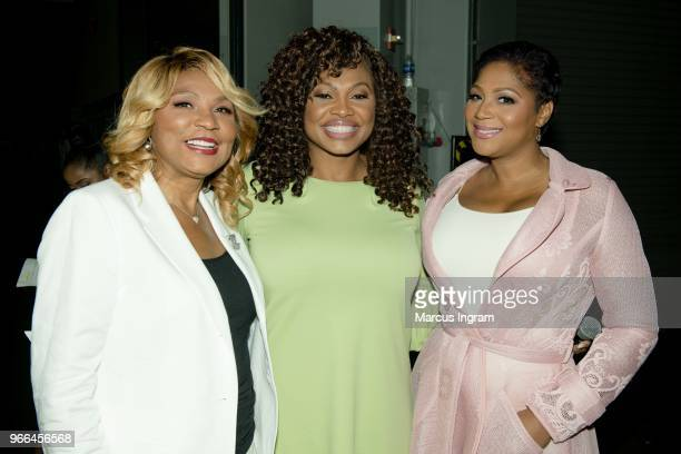Evelyn Braxton, Marcella Phillips, and Trina Braxton backstage during the Atlanta Ultimate Women's Expo at Georgia World Congress Center on June 2,...