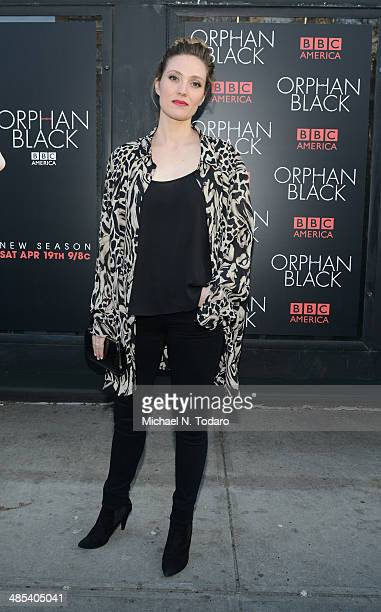 Evelyn Brochu attends the Orphan Black premiere at Sunshine Cinema on April 17 2014 in New York City