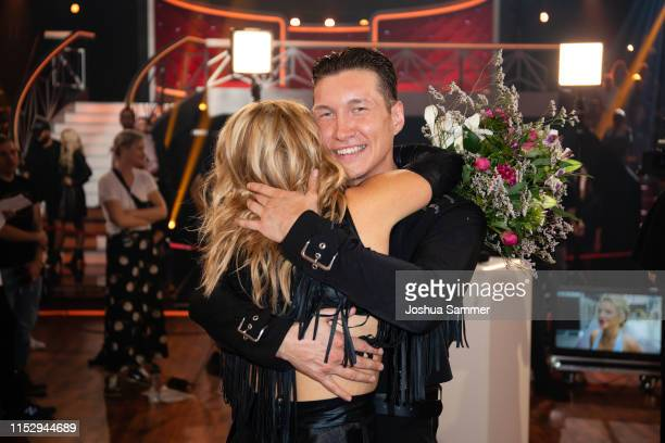 "Evelyn Burdecki and Evgeny Vinokurov are seen during the 10th show of the 12th season of the television competition ""Let's Dance"" on May 31, 2019 in..."