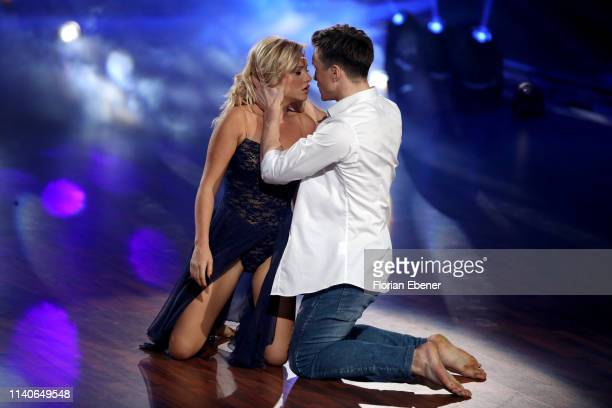 "Evelyn Burdecki and Evgeny Vinokurov perform during the 3rd show of the 12th season of the television competition ""Let's Dance"" on April 05, 2019 in..."