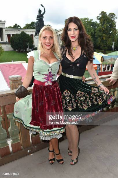 Evelyn Burdecki and Sarah Kern during the ProSieben Sat1 Wiesn as part of the Oktoberfest 2017 at Kaefer Tent on September 17 2017 in Munich Germany