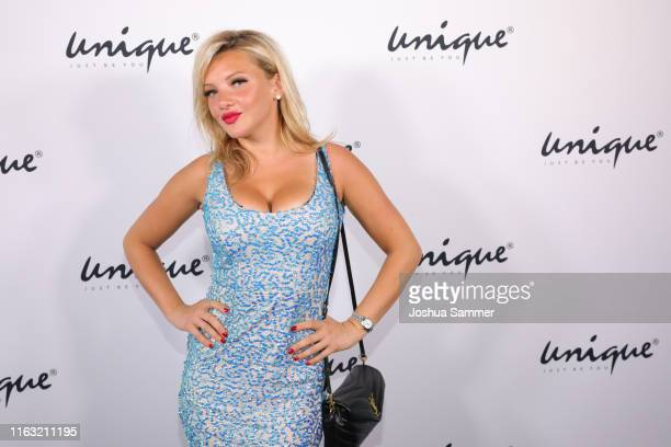 Evelyn Burdecki attends the Unique Fashion Show Spring-Summer 2020 at Oceandiva on July 20, 2019 in Dusseldorf, Germany.