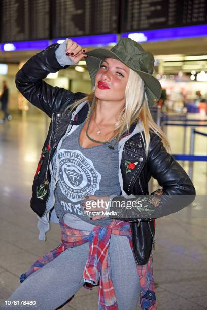 Evelyn Burdecki leaves for RTL TV show 'I'm a celebrity- Get Me Out Of Here!' in Australia at Frankfurt International Airport on January 6, 2018 in...