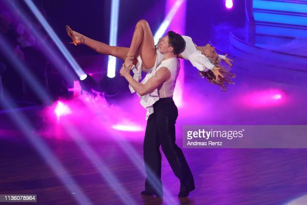 Evelyn Burdecki performs on stage during the preshow Wer tanzt mit wem Die grosse Kennenlernshow of the television competition Let's Dance on March...