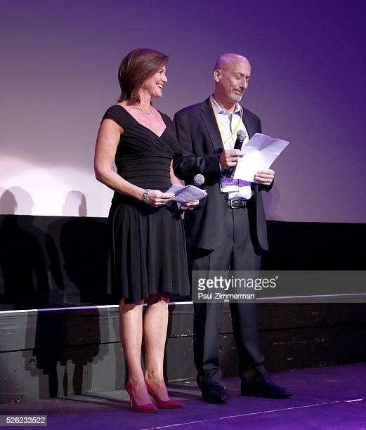 Evelyn Colbert ViceChairman of the Board MFF and Chairman of the Board MFF Bob Feinberg speak onstage at the Montclair Film Festival 2016 Opening...