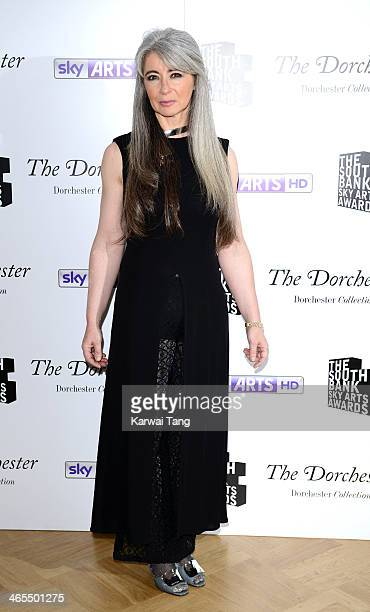 Evelyn Glennie poses in the winners room at the South Bank Sky Arts awards at Dorchester Hotel on January 27, 2014 in London, England.