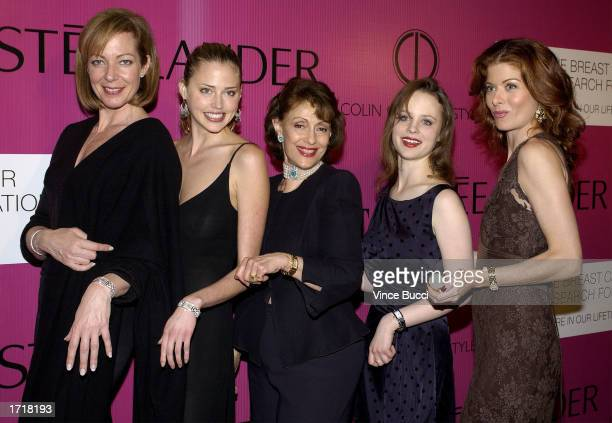 Evelyn H Lauder founder of the Breast Cancer Research Foundation poses with actors Allison Janney Estella Warren Thora Birch and Debra Messing at the...