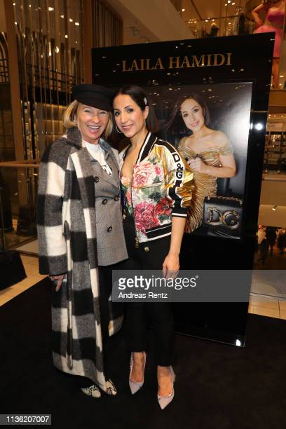 Evelyn Hammerstroem and Laila Hamidi attend the 'Easy to pack brushes' launch by Laila Hamidi at Breuninger on March 16 2019 in Duesseldorf Germany