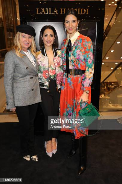 Evelyn Hammerstroem Laila Hamidi and Vanda Reppegather attend the 'Easy to pack brushes' launch by Laila Hamidi at Breuninger on March 16 2019 in...