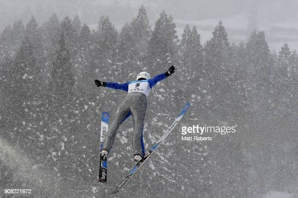 Evelyn Insam of Italy competes in the Normal Hill Individual HS102 during day four of the FIS Ski Jumping Women's World cup Zao at Kuraray Zao...