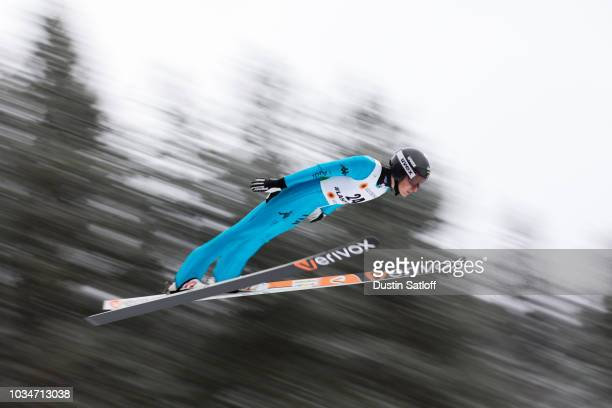 Evelyn Insam of Italy competes in the Women's Ski Jumping HS100 qualification rounds during the FIS Nordic World Ski Championships on February 23...