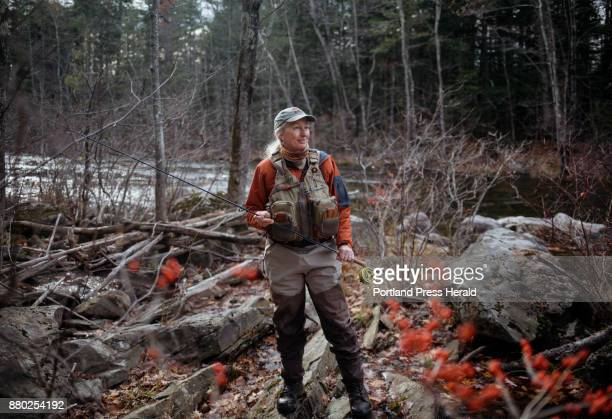 Evelyn King poses for a portraits near the bank of the Prescumpscot river King is the founder of the Maine Women Fly Fishers Club and is a big...