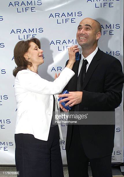 Evelyn Lauder and Andre Agassi during Andre Agassi Launches New Men's Fragrance Aramis Life at Christie's in New York City New York United States