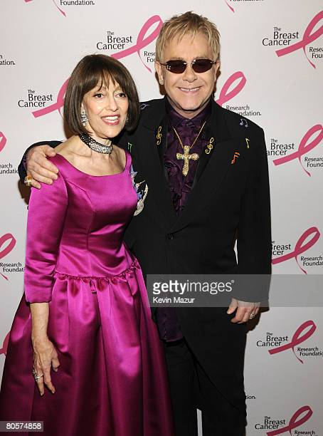 NEW YORK APRIL 08 Evelyn Lauder and Sir Elton John in the green room at the Waldorf Astoria during The Breast Cancer Research Foundation's Hottest...