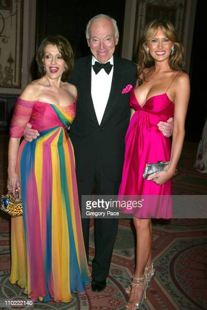 Evelyn Lauder Leonard Lauder and Melania Trump during The Breast Cancer Research Foundation's Annual Red Hot Pink Party Arrivals at Waldorf Astoria...