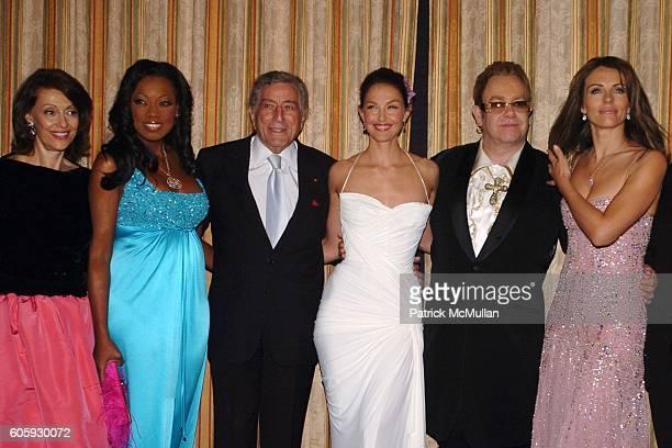 Evelyn Lauder Star Jones Reynolds Tony Bennett Ashley Judd Sir Elton John and Elizabeth Hurley attend The Breast Cancer Research Foundation Presents...