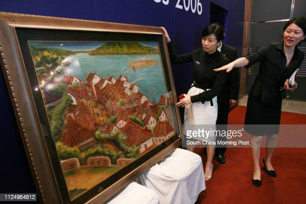 Evelyn Lin deputy director of China and Southeast Asia Head of Chinese Contemporary Art Department at Sotheby's and Lena Han press officer of Hong...