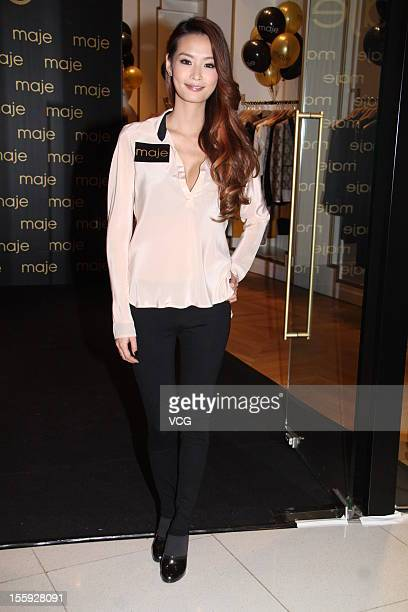Evelyn Lin poses as she attends Maje New Store Opening on November 8 2012 in Hong Kong China