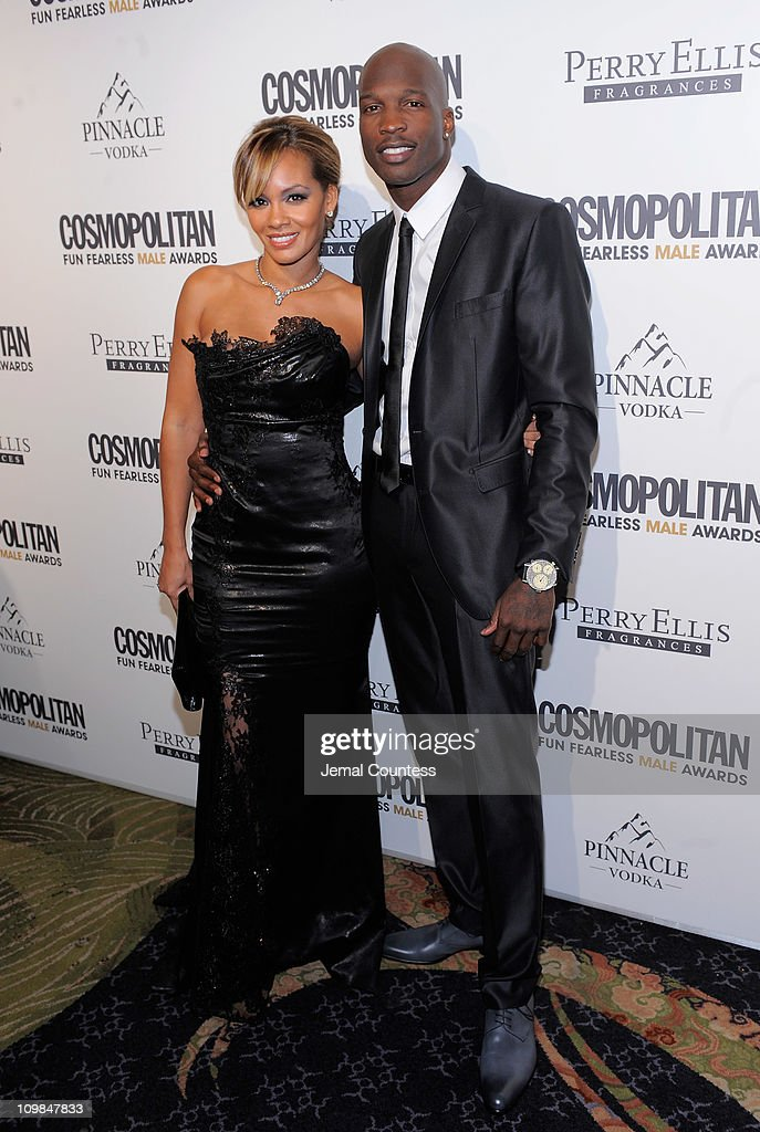 Evelyn Lozada and athlete Chad Ochocinco attend Cosmopolitan Magazine's Fun Fearless Males Of 2011 at The Mandarin Oriental Hotel on March 7, 2011 in New York City.