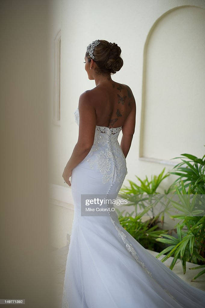 Evelyn Lozada prepares for her wedding to Chad Ochocinco at Le Chateau des Palmiers on July 4, 2012 in St. Maarten, Netherlands Antillies.