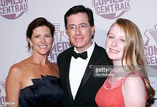 Evelyn McGeeColbert her husband television personality Stephen Colbert and their daughter Madeline Colbert arrive at the Comedy Central Emmy after...
