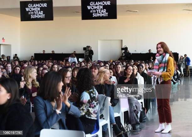 Evelyn Riddell speaks during the Aerie panel at 2018 Glamour Women Of The Year Summit Women Rise at Spring Studios on November 11 2018 in New York...