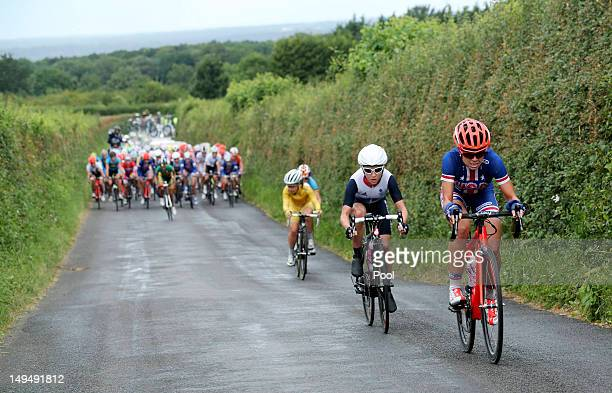 Evelyn Stevens of the United States leads the pack during the Women's Road Race Road Cycling Day 2 of the London 2012 Olympic Games on July 29, 2012...
