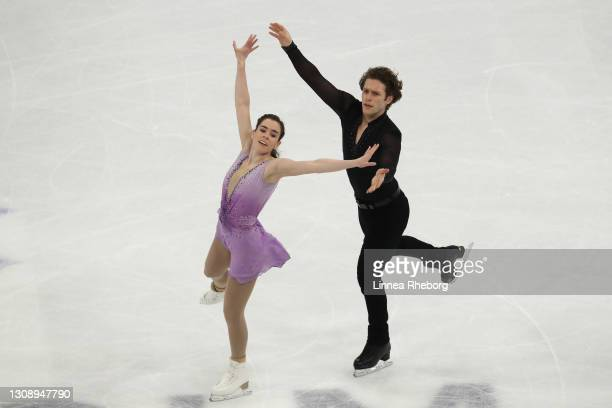 Evelyn Walsh and Trennt Michaud of Canada perform during Day One of the ISU World Figure Skating Championships at Ericsson Globe on March 24, 2021 in...