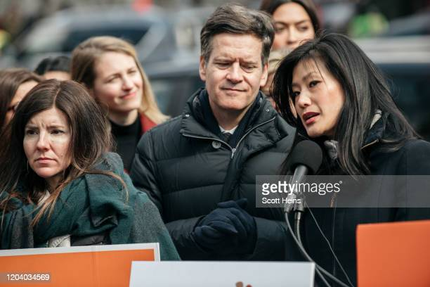 Evelyn Yang speaks at a rally in support of the Adult Survivors Act on February 28 2020 in New York City Introduced by New York State Senator Brad...